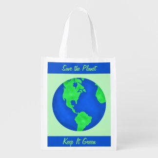 Mantenha-o arte verde do ambiente do planeta das sacolas ecológicas para supermercado