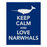 Mantenha o azul do impressão ou do poster de Narwh