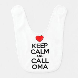Mantenha o babador calmo de Oma da chamada