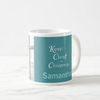 Mantenha o cristo na caneca do Natal, cerceta,
