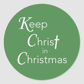 Mantenha o cristo na etiqueta do Natal, redonda