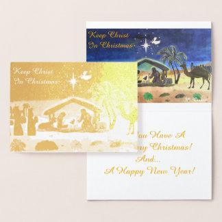 Mantenha o cristo no cartão da folha do Natal