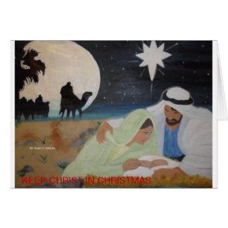 Mantenha o cristo no Natal Cartão Comemorativo