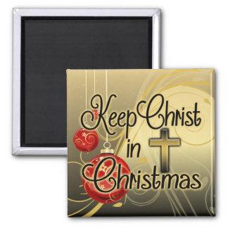 Mantenha o cristo no Natal, ouro/cristão vermelho Ima De Geladeira