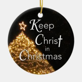 Mantenha o cristo nos enfeites de natal,