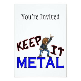 Mantenha-o metal convite 12.7 x 17.78cm
