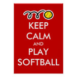 Mantenha o poster do softball da calma e do jogo