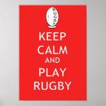 Mantenha o rugby da calma & do jogo poster