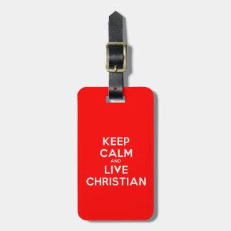 Mantenha o Tag cristão calmo e vivo da bagagem Etiquetas Para Bagagens