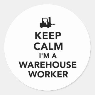 Mantenha o trabalhador calmo do armazém adesivo
