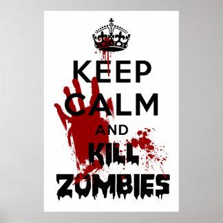 Mantenha poster calmo e do matar dos zombis do pôster