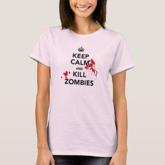 mantenha zombis calmos e do matar t-shirt
