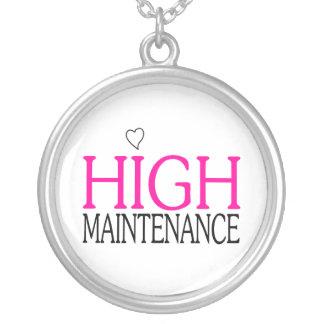 Manutenção alta colar banhado a prata
