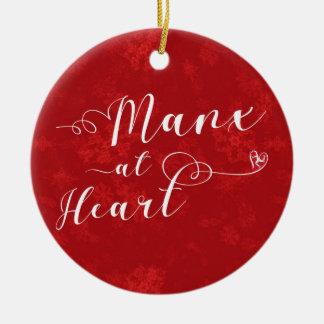 Manx no coração, ornamento da árvore de Natal