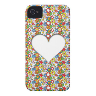 Many Flowers and a big Heart Capa Para iPhone 4 Case-Mate
