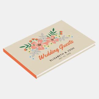 Mão alaranjada flores tiradas, Wedding Livro De Visitas