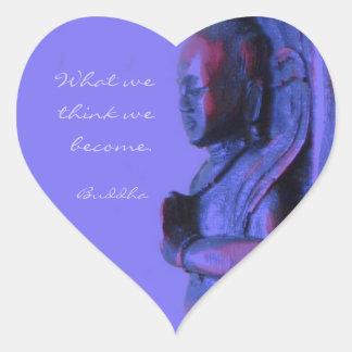 Mão azul Buddha cinzelado Adesivo Coração