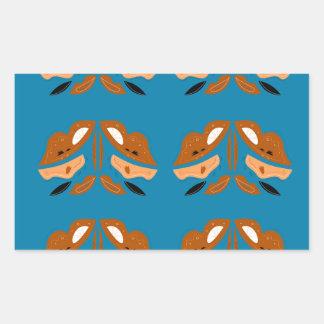 Mão azul ornamento tirados de Oriente. Design Adesivo Retangular
