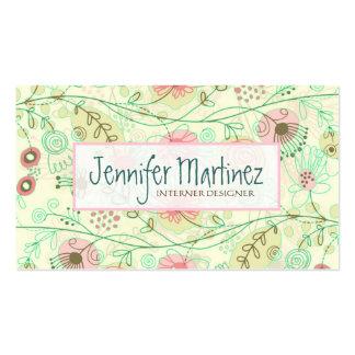 Mão bonito flores retros tiradas verde & bege cartão de visita