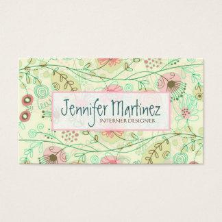 Mão bonito flores retros tiradas verde & bege cartão de visitas