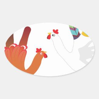Mão Chicken3 do Grunge Adesivo Oval