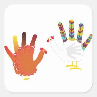 Mão Chicken3 do Grunge Adesivo Quadrado