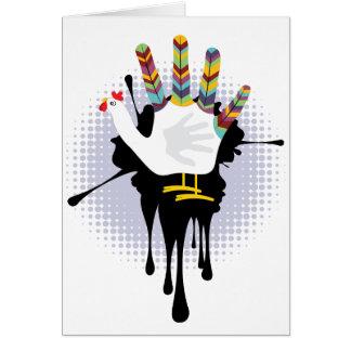 Mão Chicken4 do Grunge Cartão