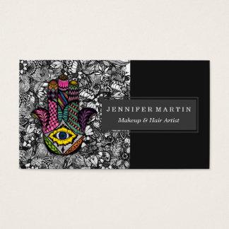Mão colorida mão tirada de Hamsa desenhos florais Cartão De Visitas