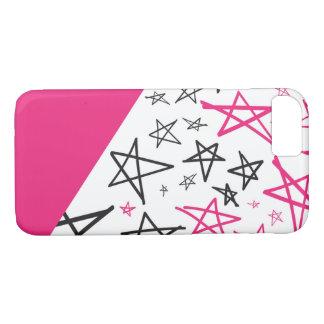 Mão cor-de-rosa capa de telefone tirada da estrela