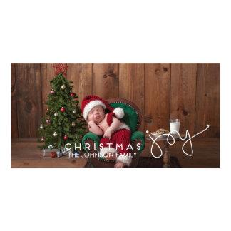 Mão do cartão com fotos   da alegria do Natal