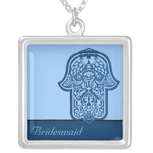 Mão do Henna de Hamsa (azul) (casamento) Colar Personalizado