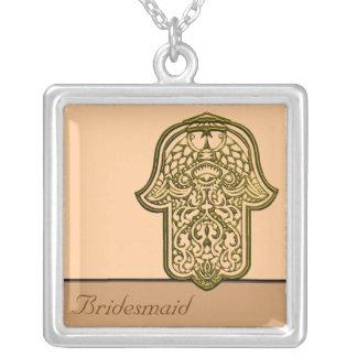 Mão do Henna de Hamsa (ouro) (casamento) Colar Com Pendente Quadrado