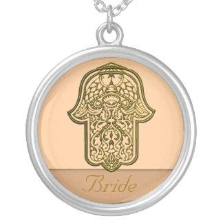 Mão do Henna de Hamsa (ouro) (casamento) Colar Com Pendente Redondo
