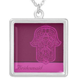 Mão do Henna de Hamsa (rosa) (casamento) Colar Com Pendente Quadrado