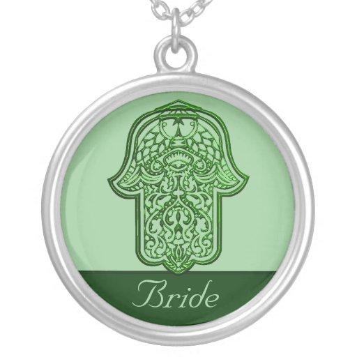 Mão do Henna de Hamsa (verde) (casamento) Pingente