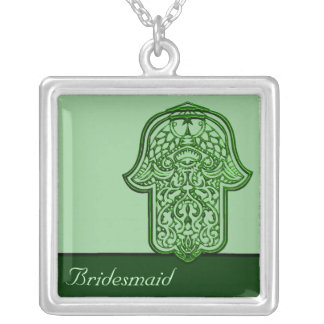 Mão do Henna de Hamsa (verde) (casamento) Colar Com Pendente Quadrado