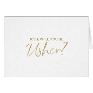 Mão do ouro rotulada você será meu arrumador cartão comemorativo