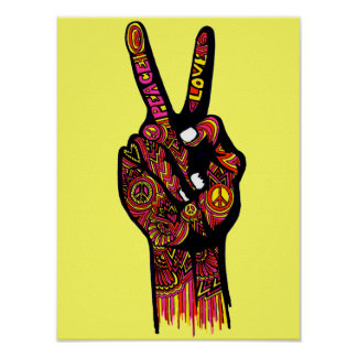 Mão do sinal de paz poster