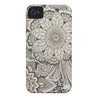 Mão preto e branco floral tirado capinhas iPhone 4