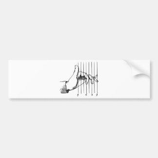 Mão que joga notas musicais adesivo para carro