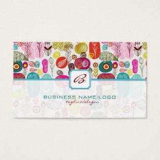 Mão simples colorida Flores-Monograme retros Cartão De Visitas