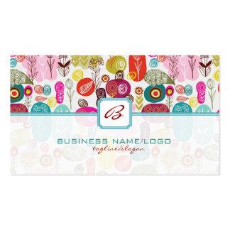 Mão simples colorida Flores-Monograme retros tirad Cartão De Visita