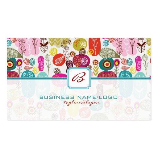 Mão simples colorida Flores-Monograme retros tirad Cartoes De Visita