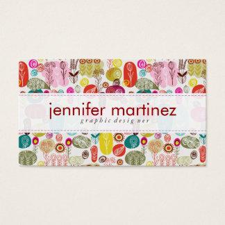 Mão simples colorida teste padrão de flores retro cartão de visitas
