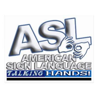MÃOS DE FALA DO ASL - LINGUAGEM GESTUAL AMERICANO CARTÃO POSTAL