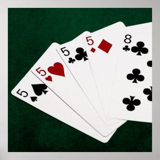 Mãos de póquer - quatro de um tipo - pífanos e pôster