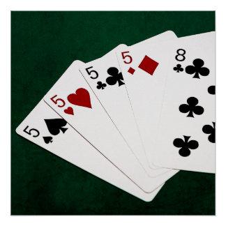 Mãos de póquer - quatro de um tipo - pífanos e poster perfeito