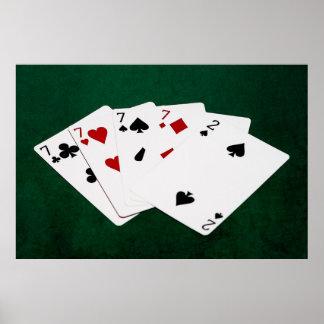 Mãos de póquer - quatro de um tipo - Sevens e dois Pôster