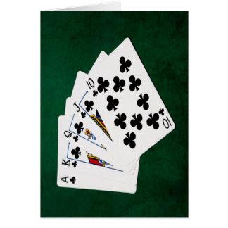 Mãos de póquer - resplendor real - terno dos cartão comemorativo