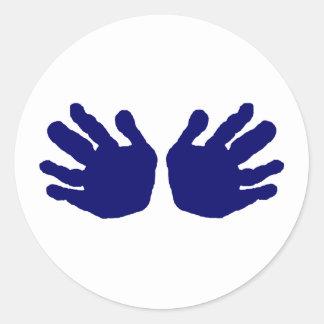 Mãos DK azul os presentes de Zazzle do MUSEU Adesivo